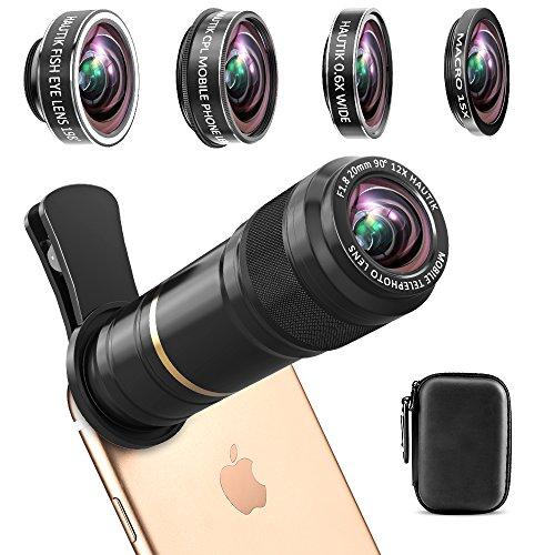 スマホ望遠レンズ スマホレンズ [光学 完全アルミ製] (豪華5点セット)12X望遠レンズ+15Xマクロ+198°魚眼+0.6X広角+CPL iPhoneXS/XR/X/8/7/6plus/6/Xperia/Huawei/Samsungなどスマートフォンに対応