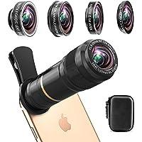スマホ望遠レンズ[光学 完全アルミ製] (豪華5点セット)スマホレンズ 12X望遠レンズ+15Xマクロ+198°魚眼+0.6X広角+CPL iPhoneXS/XR/X/8/7/6plus/6/Xperia/Samsungなどスマートフォンに対応