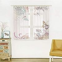 装飾 レースカーテン UVカットミラーレースカーテン 幅100cm×丈100cm トンボ、ワイルドフラワーハイビスカスブルームズハーブシダ芸術アンティーク植物エレガンスデザイン装飾的、多色