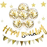 誕生日 飾り付け セット ガーランド 風船 バースデー 飾り Bajoy おしゃれ ガーランド 3種 きらきら 風船 6個 空気入れ付き ゴールド