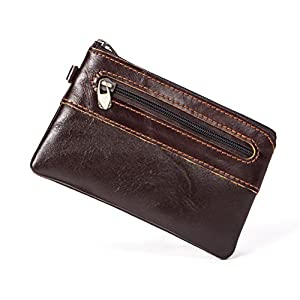 Zhhmeiruian Unisex Mens Womens Vintage Soft PU Leather Wallet Thin Minimalist Pouch Zipper Coin Purse-Brown