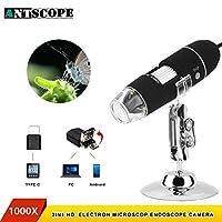 スマートフォンのタブレットのためのAntscope 1000X 8 LED USBの顕微鏡の拡大鏡のズームレンズのカメラ