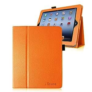 Casebot iPad 2 / 第3世代 iPad / 第4世代 iPad 専用保護ケース 薄型&軽量 スタンドタイプ タッチペンホルダー付き、オートスリープ機能付き、高級PUレザーケース カバー (オレンジ)