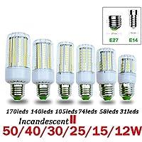 電球Smd5736 E27 E14ランプライト50ワット40ワット30ワット25ワット15ワット12ワット7ワット白熱交換220 vスポットライトコーンライトホーム、コールドホワイト、E14 140 s