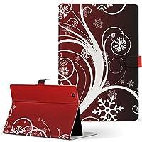 MediaPad M3 Lite 10 HUAWEI ファーウェイ タブレット 手帳型 タブレットケース タブレットカバー カバー レザー ケース 手帳タイプ フリップ ダイアリー 二つ折り クール 雪の結晶 赤 グラデーション 000064