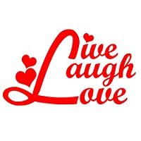 "LIVE LAUGH LOVE - V3 - vinyl decal - size: 5"", color: RED - Windows, Walls, Bumpers, Laptop, Lockers, etc."