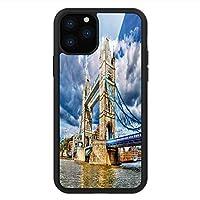 iPhone 11 Pro Max 用 強化ガラスケース クリア 薄型 耐衝撃 黒 カバーケース ロンドン ロンドン川に架かる歴史的タワー・ブリッジイギリスの日の時間国際遺産 マルチカラー iPhone 11 Pro 2019用 iPhone11 Pro Maxケース用