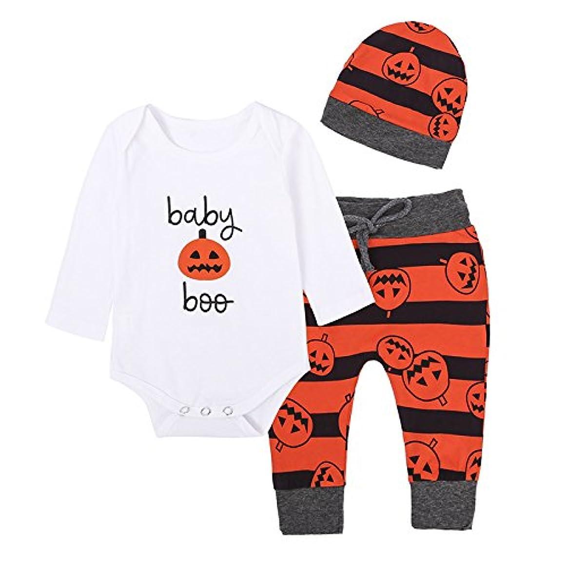 豊富な共和国毎年Fairy Baby ハロウィーン衣装 ベビーロンパース 長袖 帽子 ロングパンツ 3点セット カボチャ柄 パジャマ size 90