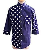 【日本製】水玉シャツ ドット柄 クレイジー ボタンダウン シャツ 水玉柄シャツ ドット柄シャツ 七分袖シャツ (XL, NAVY(ネイビー))