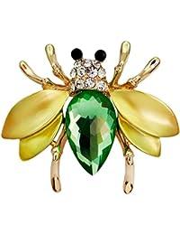 GuDeKe 昆虫 ミツバチ ビー ブローチピン ラペルピン ジュエリー アクセサリー (グリーン)