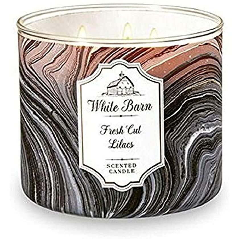 通訳大惨事悲しむWhite Barn Bath & Body Works Fresh Cut Lilacs 3 Wick scented candle
