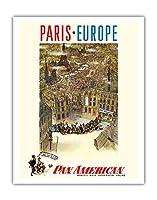 パリ - ヨーロッパ - パン・アメリカン航空経由 - それは非常に素晴らしい航空会社でなければなりません! - ビンテージな航空会社のポスター によって作成された プレスコット c.1950s - アートポスター - 28cm x 36cm