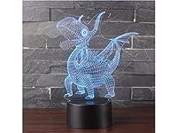 FenBuGu-JP LEDライトプテロサウルスイリュージョン7色スマートタッチのUSBテーブルの机のランプを変更する