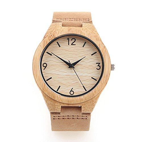 iTorches手作り腕時計高級の天然檀木木製本物の革バンド腕時計(カーキ)