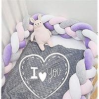 Rart 赤ちゃんのベビーベッド バンパー, 手作り編みこみ結びぬいぐるみ保育園ゆりかご装飾 編みこみ枕 柔らかい寝具ベビーベッド三つ編みクッション安全プロテクター -E 220cm(87inch)