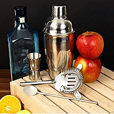 Cocktail Shaker Set and Home Cocktail Making Kit with Manhattan Cocktail Shaker (19oz), Bar Measures, Twisted Bar Spoon, Muddler, Mixer, Bottle Pourer, Ice Strainer& Ice Tongs