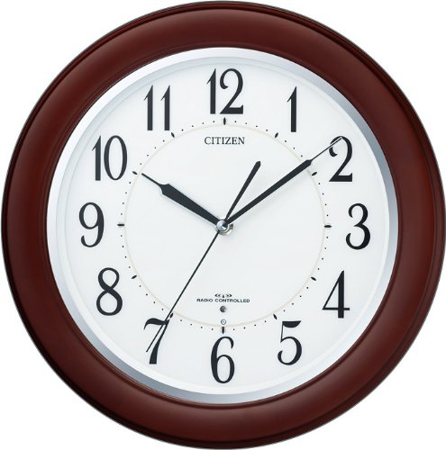 CITIZEN (シチズン) 電波掛け時計 リバライトF461 夜間自動点灯 木枠 8MY461-006