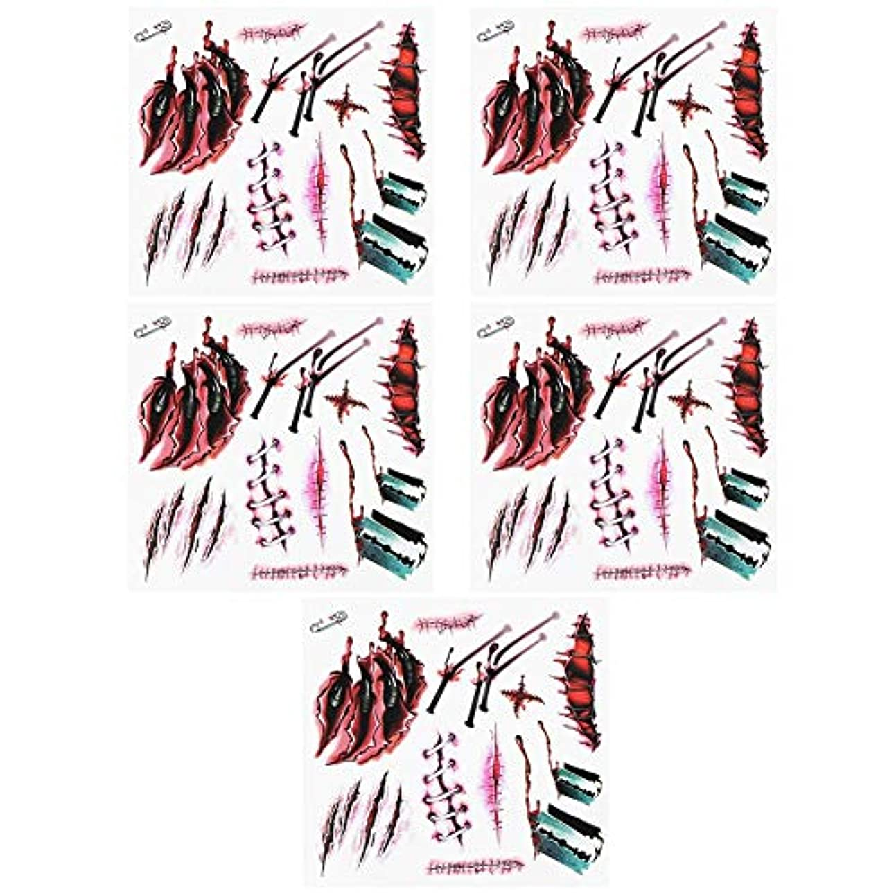 記念品滑りやすいコンクリート5枚入り タトゥーステッカー タトゥーシール ハロウィン貼り紙 立体3D コスチューム用小物 切り傷 噛み跡 縫合 特殊メイク PVC ハロウィン入れ墨 男女兼用 (#3)