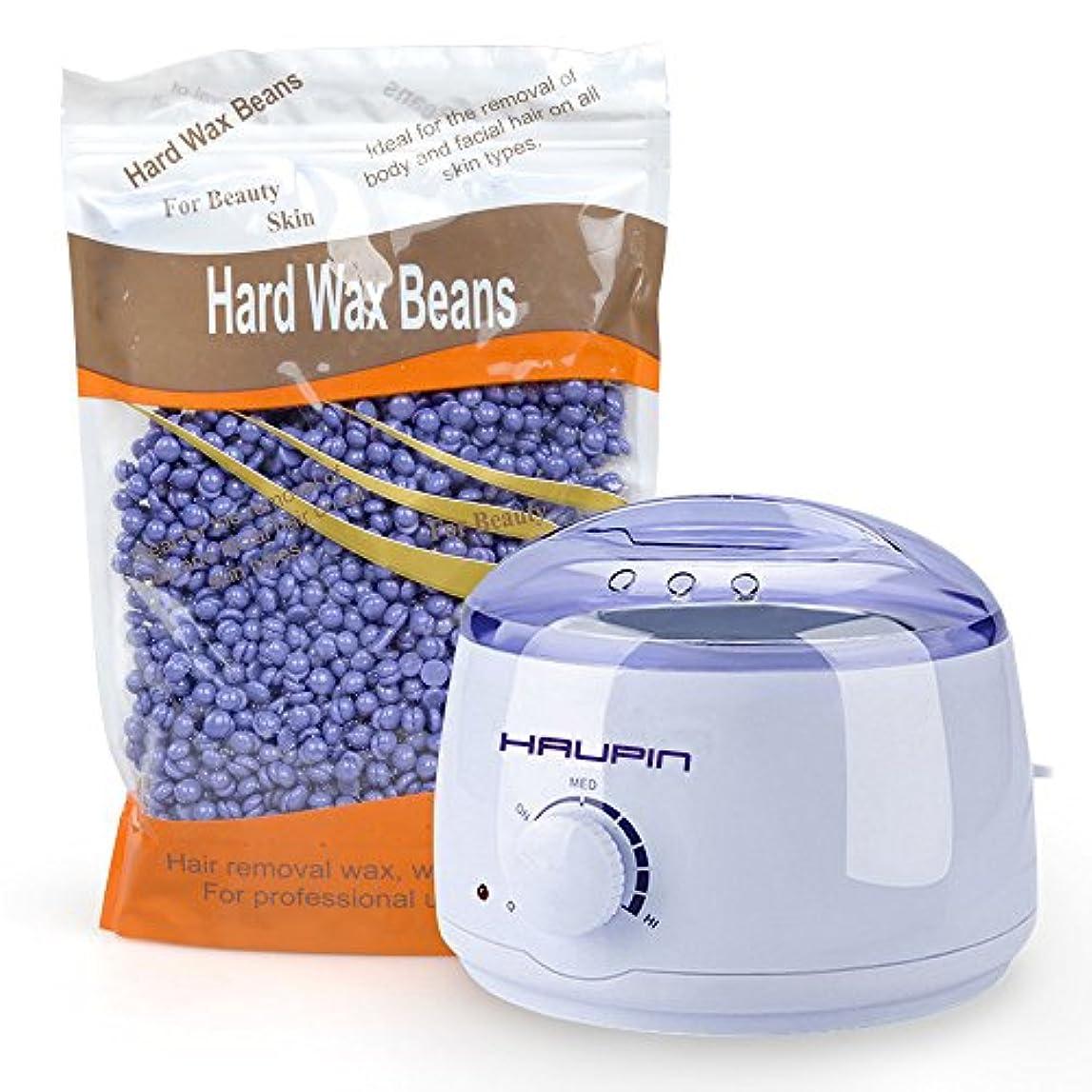 これら癒す永久HAUPIN プロフェッショナル400MLホットワックスヒーターウォーマーマシンと10.5OZ脱毛ワックス