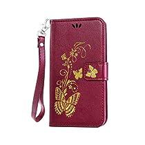 Galaxy S5 手帳型 OMATENTI 本革 カバー カードポケット スタンド機能 マグネット式 アイフォン Samsung Galaxy S5 用 財布型 カバー [強化ガラスフィルムを無料で贈ります] [全10色] (パープル P1)
