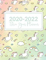 """2020-2022 Three Year Planner: This Unicorn Moon Stars Clouds Cover 3 Year planner, scheduler, organizer, features 8.5"""" X 11"""" size, with yearly, monthly, and daily overview with spot for to do list, goals and reminders. Includes Leap Year & Holidays."""