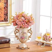 二重耳大花瓶セットインテリア、耐久性のある樹脂ドライフラワーアレンジメントジャー6束の花、ホームリビングルームのコーヒーダイニングテーブルのセンターピースの装飾 (Color : White)