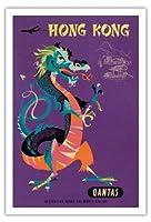香港 - カンタス航空 - 中国の宝ドラゴン - ビンテージな航空会社のポスター によって作成された ハリー・ロジャース c.1960s - アートポスター - 76cm x 112cm
