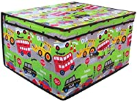(Roadworks) - 2 x Jumbo Large Toy Boxes Book Bedding Laundry Kids Childrens Storage Chest (Roadworks)