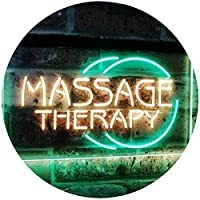 Massage Therapy Business Display Dual LED看板 ネオンプレート サイン 標識 Green & Yellow 400mm x 300mm st6s43-i0315-gy