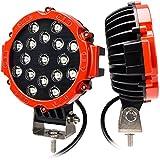 CooAgo LEDワークライト オフロード CREE製 作業灯 白 取付金具付き 狭角30度 フラッドライト 51W 17発 12V-24V対応 汎用 防水・防塵・耐震・長寿命 車外灯 農業機械 2個入り