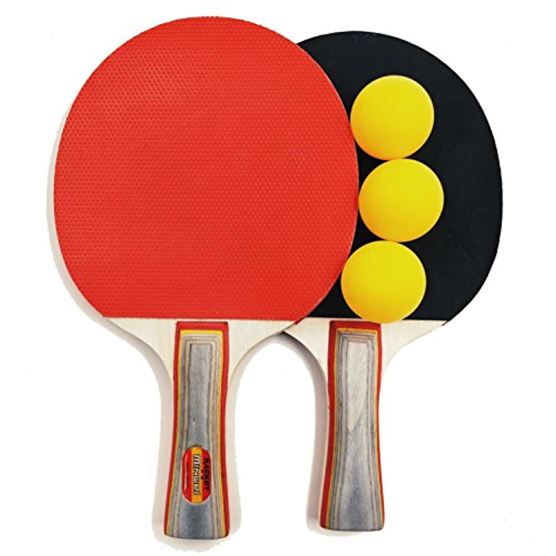 Minwei Ping Pong Bats Set 2 Pack Table Tennis Rackets 3 Balls Soft Sponge Rubber Long Handle Great for 2-Player Beginners