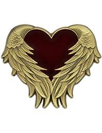 Pinmartのアンティークゴールドハート天使の翼とエナメルラペルピン 25 ゴールド