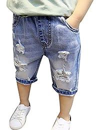 [ビートーク] キッズ 男の子 女の子 ショート パンツ ダメージ ハーフ デニム クラッシュ 子供服 90~130