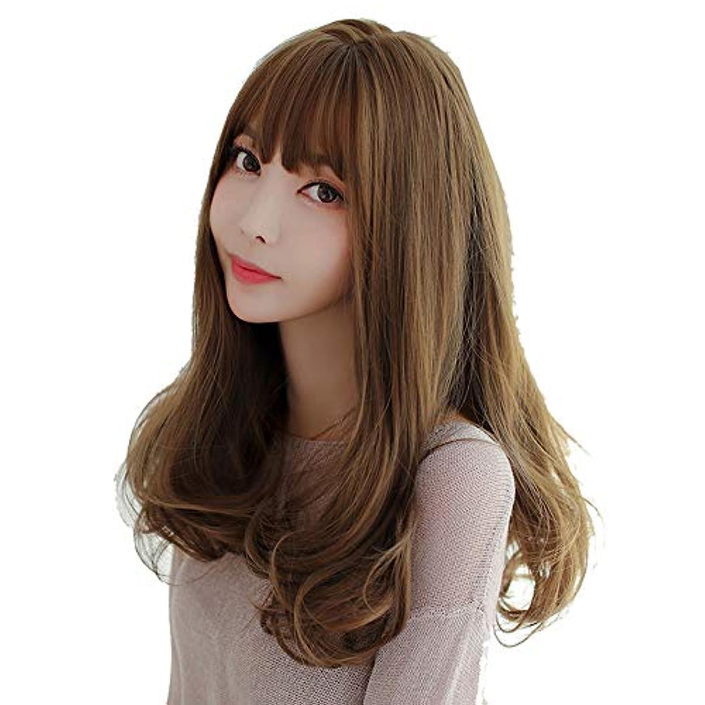 SRY-Wigファッション ディープルートロングウェーブファッションブラウンウィッグ130%密度合成レースフロントウィッグブラックレディースウィッグ