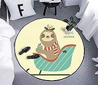 ラグ 丸 ラグマット 円形 カーペット 丸型 絨毯 マット 洗える 滑り止め付き 床暖房対応 ホットカーペット,C,60cm
