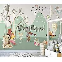 3D壁画壁紙カートン動物の森自然風景壁画、塗装壁紙連絡用紙280 cm(W)x 180 cm(H)