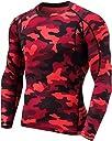 (テスラ)TESLA オールシーズン 長袖 ラウンドネック スポーツシャツ UVカット 吸汗速乾 コンプレッションウェア パワーストレッチ アンダーウェア MUD11-MRD_L