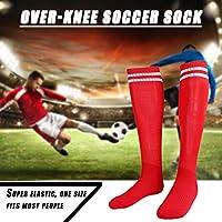 屋外サッカーフットボールハイキングスポーツのための1対の通気性アンチスリップオーバーニーソックス(赤)