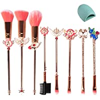 Ourine 化粧メイクブラシ  ピンク 化粧筆 好きに メイクブラシ 8個セット ポーチ付き メイク道具 可愛い 全顔対応