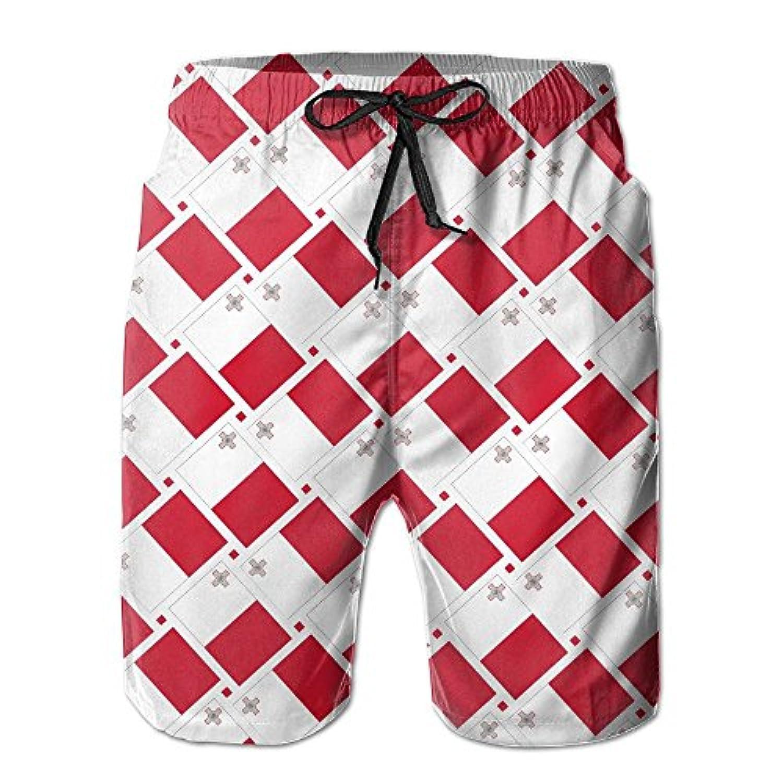 マルタ島の旗 メンズ サーフパンツ 水陸両用 水着 海パン ビーチパンツ 短パン ショーツ ショートパンツ 大きいサイズ ハワイ風 アロハ 大人気 おしゃれ 通気 速乾