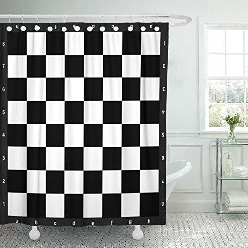 maytecシャワーカーテンボードの黒と白のチェス盤チェス防水ポリエステル生地72x 72インチセットフック付き