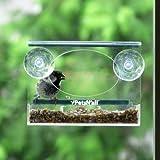 PetsN'all クリアビューバードフィーダー(小鳥の餌台)小動物ストッパー付き【屋内からも鑑賞を楽しめる透明アクリル製・巣箱】 18.5cm×9cm×14cm 中型