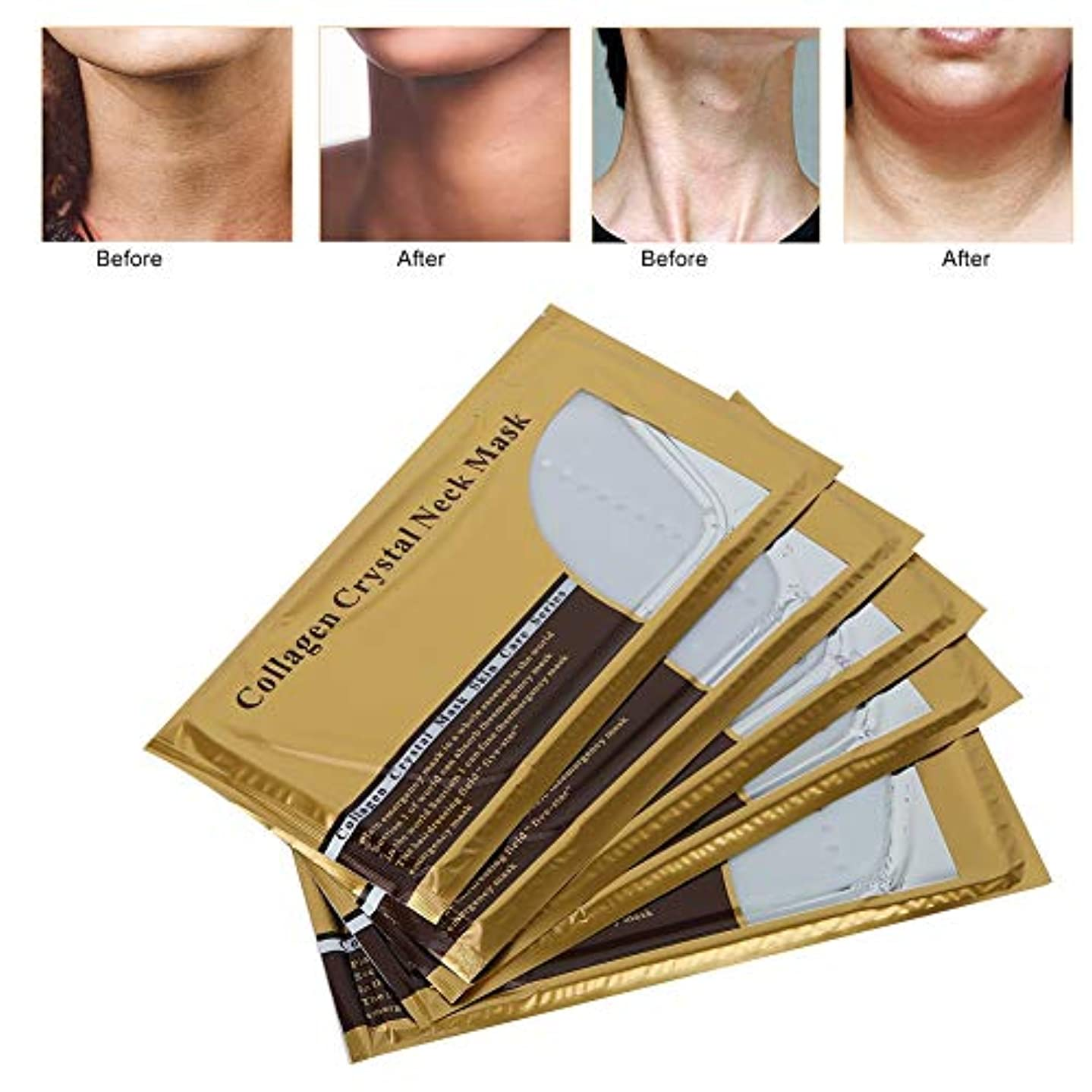 咽頭虚弱正気ネックスキンリニューアルマスク、5ピースコラーゲン肌のリラクゼーションスキンケアマスク用あごリフティング剥離ホワイトニング引き締めより良い保湿水分補給