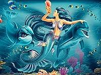 ダイヤモンド絵画イルカリビングルームの寝室の絵画家の装飾5d diyクロスステッチ20×30センチメートルo