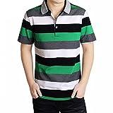 (ハイハート)Hiheart ポロシャツ メンズ 半袖 ラガーシャツ ボーダー柄 シャツ ゴルフウェア 通気性 吸汗速乾 大きいサイズ (S,グリーン1)