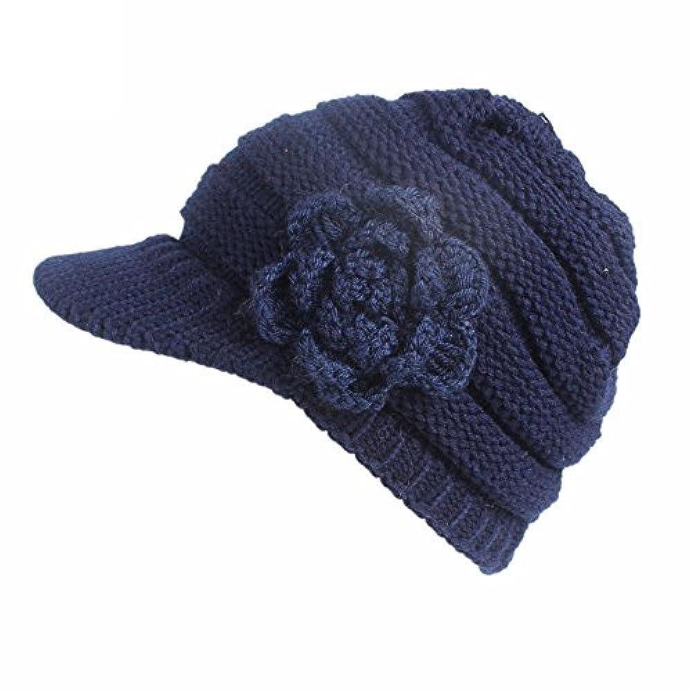 聞きますケーブル誇張するRacazing 選べる5色 編み物 花 鸭舌帽 ニット帽 防寒対策 通気性のある 防風 暖かい 軽量 屋外 スキー 自転車 クリスマス Hat 女性用 (ネービー)