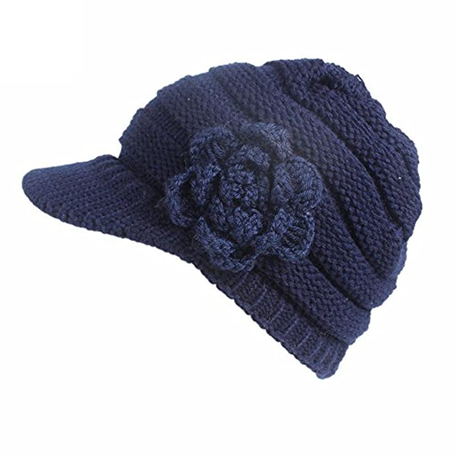 Racazing 選べる5色 編み物 花 鸭舌帽 ニット帽 防寒対策 通気性のある 防風 暖かい 軽量 屋外 スキー 自転車 クリスマス Hat 女性用 (ネービー)