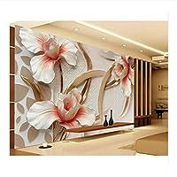 Weaeo カスタム3D写真花の壁紙3D壁のための3D Stlyishミニマルモダンなヨーロッパの大きな壁画のリビングルームコンタクトペーパー-250X175Cm