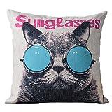 猫 ねこ クッションカバー 45×45 サングラス (A、丸型サングラス)