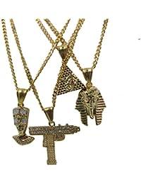 Uzi Nefertitiファラオピラミッドセット18 K Gold over真鍮ミニチャームペンダントネックレス